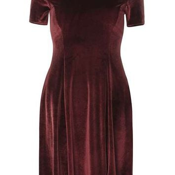 Wine Velvet Fit And Flare Dress - Dresses - Clothing