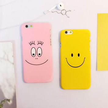 Cute yellow and pink smiling face phone case for iPhone 6 6S 6plus 6Splus 5 5S SE 1007J01