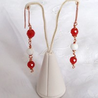 Agate / Carnelian Earring Drop Styl.. on Luulla