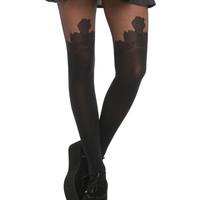 LOVEsick Floral Faux Thigh High Tights