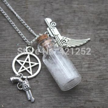 12pcs/lot the silver tone Supernatural Mojo Charm Necklace - Supernatural Jewelry Salt Bottle Protetion.
