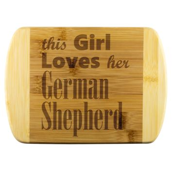 "German Shepherd - Round Edge Bamboo Cutting Board 8""x5.75"""