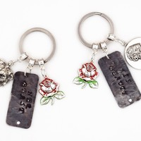 His Beauty Her Beast Beauty & the Beast Couples Keychains (Hand Stamped, Silver Plated)
