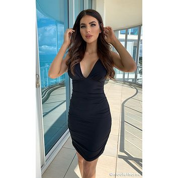 Play The Game Sleeveless Plunge V Neck Low Back Ruched Bodycon Mini Dress - 4 Colors Available