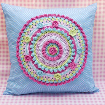 Crochet applique cushion, colourful crochet pillow, crochet mandala cushion, Blue cushion, cotton pillow, a lovely addition to any room.