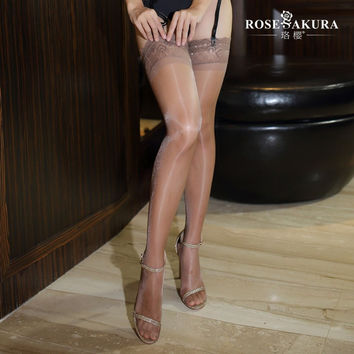 Sheer Lace Top Thigh High Stockings with Stay Up Silicone 12 Den Shine Oil with Peacock Feather Pattern Lace Top Detail