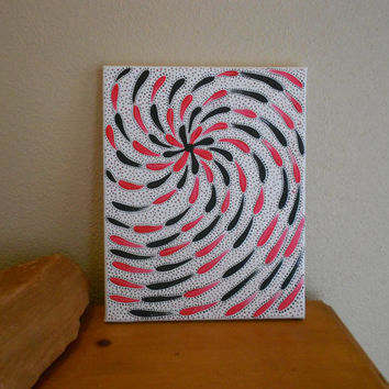 Original Painting Red and Black Flower Aboriginal by Acires