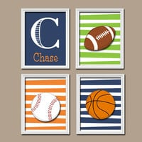 Sports Wall Art Nursery Canvas Artwork Child Set of 4 Boy Sports Balls Football Baseball Basketball Print Set of 4 Prints Crib Baby Decor