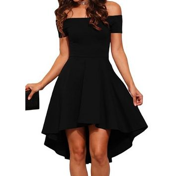 WOMENS SEXY OFF-SHOULDER SKATER MIDI DRESS