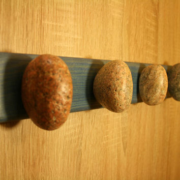 Rock Towel Racks. Rock Coat Hooks. Unique Wall hanger with Beach Stone and Solid Wood. Coat RACK HANGER HOOK. Blue plate Handmade interior