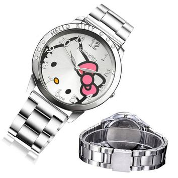 Cat Quartz Hello Kitty Watch Women Luxury Fashion Lady Girl Silver Stainless Steel Brand Cute Wristwatch Gifts Hour Relogio Gift
