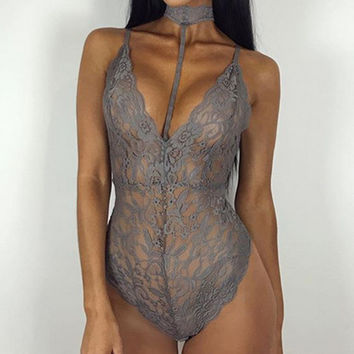 Sexy Halter Lace Bodysuit Women v Neck Skinny Hollow Out Jumpsuit Romper Body Feminino Overalls Mesh Sleeveless Playsuit