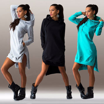 Winter Dress Cotton O-neck Long Sleeve Fashion Casual Style Irregular Solid Hooded Women's Dress