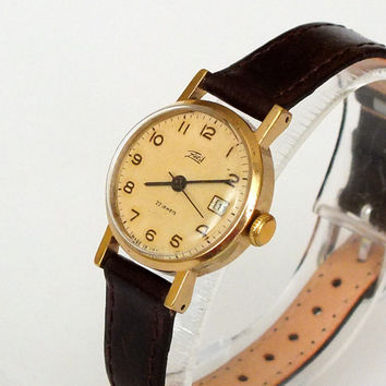 Vintage Womens Watch, Retro Style Small Gold Plated Ladies Wrist Watch Zaria Dawn With Date Calendar