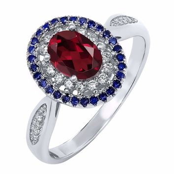 Clarice 1.5CT Oval Cut Genuine Rhodolite Garnet IOBI Precious Gems Ring