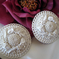 Vintage White Celluloid Carved Flower Earrings