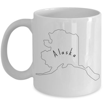 50 states series - Alaska outline - coffee / hot chocolate / tea mug - 11 oz ceramic cup
