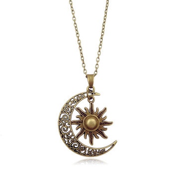 2017 Newest Fashion Sun Moon Pendant Necklace Silver Crescent Moon chain Necklace Women Jewelry Accessories gift