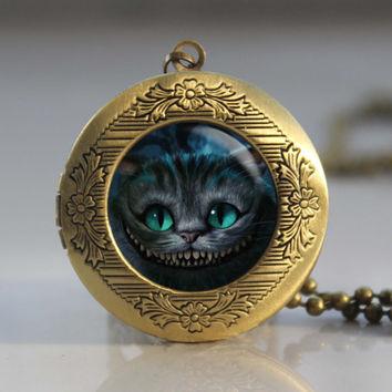 alice in wonderland cheshire cat library books reading vintage pendant locket necklace