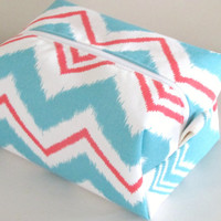 Chevron Makeup Bag  - Cosmetic Pouch -  Aqua and Red Chevron Waterproof Bag