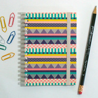 Decorative Stripes - Spiral notebook/ sketchbook/ pocketbook/ travel journal