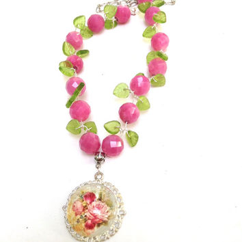 Pink  Green Gemstone Necklace Faceted Jade Wire Wrapped Necklace Victorian Rose Necklace