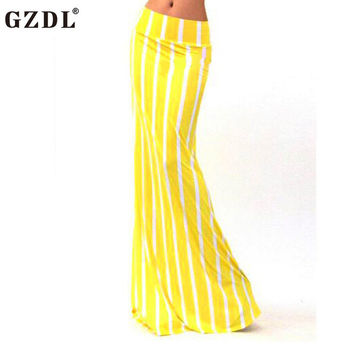 Sexy Yellow White Striped Maxi Winter Autumn Female Skirt Stylish Fashion High Waist Women's Party Long Skirts M-XL CL3307