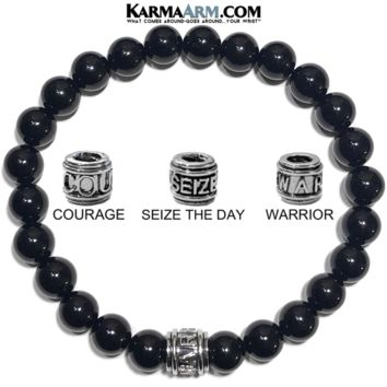 Mantra Motivation Bracelet | Black Onyx | COURAGE | SEIZE THE DAY | WARRIOR Jewelry