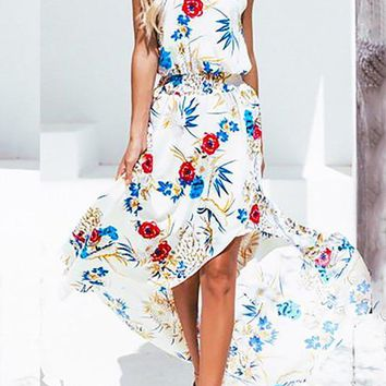 Chicloth Date Holiday Floral Dress Halter Midi Dress