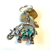 Lucky Elephant Keychain With Turquoise Feather Charm