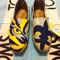 Custom Hand Painted LSU Toms