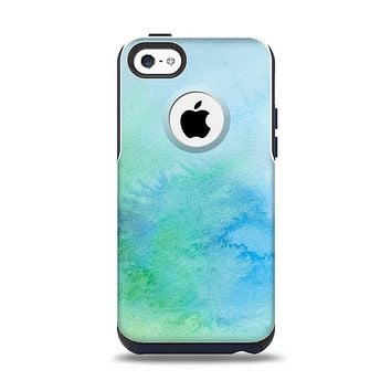 The Subtle Green & Blue Watercolor V2 Apple iPhone 5c Otterbox Commuter Case Skin Set
