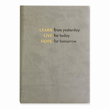 Learn, Live, Hope Faux Leather Essentials Journal - Embossing Gift Item