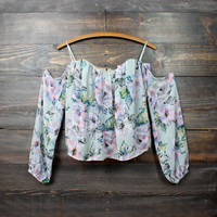 silver swan off the shoulder floral gypsy top