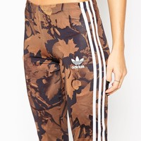 adidas Leggings In All Over Camo Leaf Print With 3 Stripes