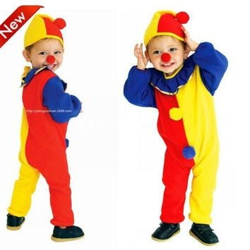 CaGiPlay Children Kids Baby Yellow Red Blue Spliced Romper+Hat+red nose Halloween Carnival Clown Circus party Cosplay Costumes
