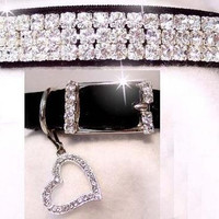 Black Velvet Sweetheart Crystal Rhinestone Dog Cat Pet Collar Szs Xs, Small, Med, ML