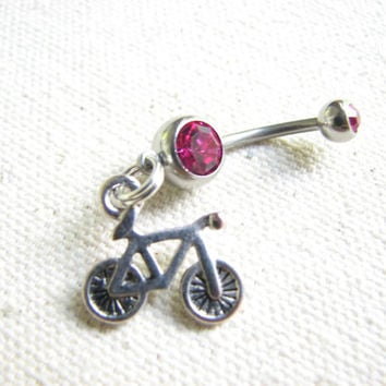 Bicycle Belly Button Ring, Bicycle Jewelry, Bike Belly Ring, Two Wheels Bellybutton Ring, Triathlon Jewelry, Cycling Belly Button Jewelry