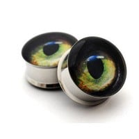 Cat Eye Picture Plugs gauges 00g 1/2 9/16 by mysticmetalsorganics