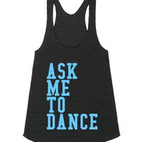 Ask Me To Dance-Female Athletic Tri Black Tank