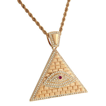 Evil Eye Egyptian Pyramid Pendant Illuminati Stainless Steel Rose Gold Finish Necklace