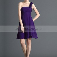 Floral One Shoulder Short A Line Chiffon Bridesmaid Dress
