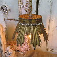 Distressed golden crown pendant light re purposed French Nordic up cycled home decor anita spero