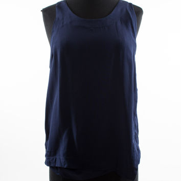 Navy Scoop Neck Tank with Double Strap Detail