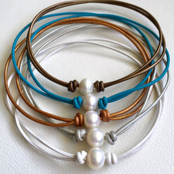 Pearl Leather Choker Necklace Handmade Freshwater Pearl Genuine Leather Colors Turquoise White Silver Gold Bronze Women's Bohemian Jewelry