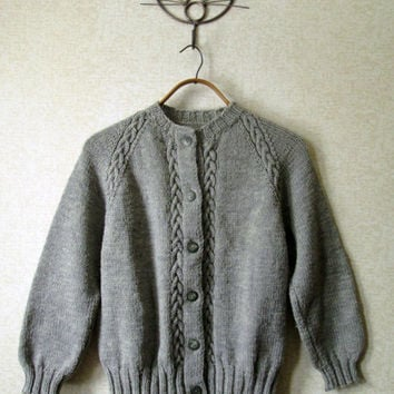 Hand Knit Cardigan vintage 60s sweater wool cable knit button up sweater grey heather mad men style womens cardi small medium