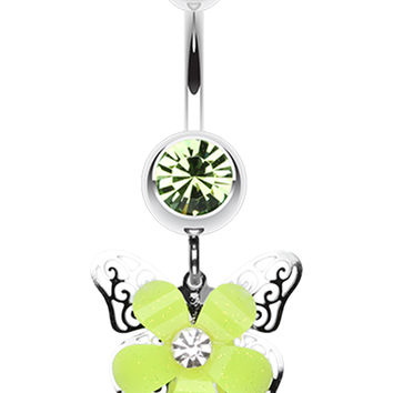 Glittered Flower Butterfly Belly Button Ring