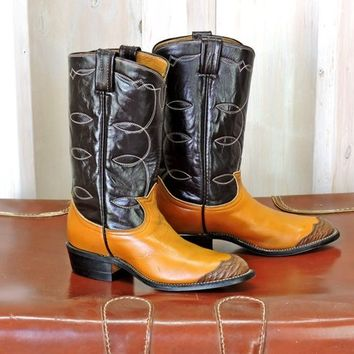 Childrens cowboy boots / youth size 3.5 B / Vintage Tony Lama boots / boys cowboy boots / girls cowboy boots