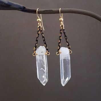 Raw Crystal Point Black Chain Gold Filled Earrings