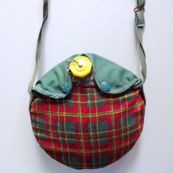 Vintage Girl Scouts Water Canteen with Plaid Case 1960s